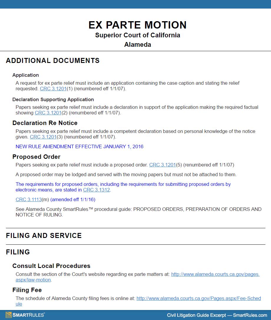CA Ex Parte Motion